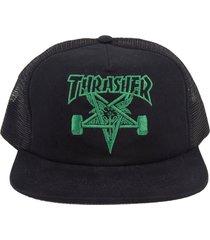 boné thrasher magazine skategoat trucker preto/verde - kanui