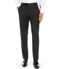 men's ted baker london josh flat front wool & mohair tuxedo pants, size 38 r - black