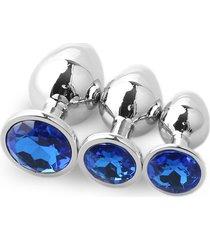 3pcs redondo convencional plug anal grande con traje de medianos y pequeños diamantes-azul oscuro