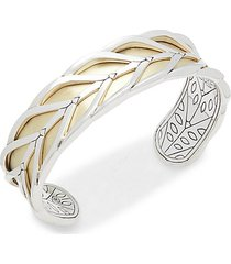 modern chain 18k yellow gold & sterling silver cuff bracelet