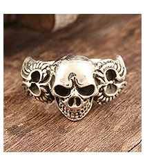 sterling silver cocktail ring, 'skull on wings' (india)