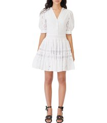 women's maje textured grid sleeveless cotton dress, size 10 us - beige