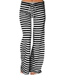 casual a rayas con cordón en la cintura pantalones