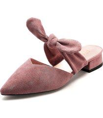 zapato tipo slipper de tacón bajo y ancho en rosa - laila - frankie