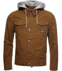 superdry men's canvas hooded hacienda trucker jacket