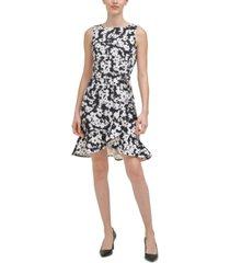 calvin klein floral-print ruffled-bottom sheath dress