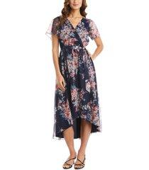 r & m richards floral-print asymmetrical mesh wrap dress