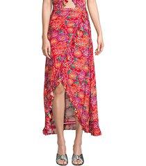 stevie floral silk-blend wrap skirt
