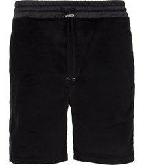 velvet satin drawstring shorts black