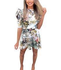 ax paris tropical print puff sleeve skater dress