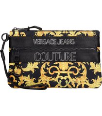 versace jeans couture clutch in black polyester