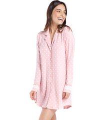 camisão aberto manga longa poá rosa com polo