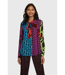 blusa desigual ml multicolor - calce regular