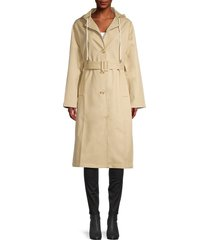 thakoon women's hooded trench coat - khaki - size l