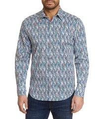 robert graham men's night ladies classic-fit printed shirt - blue multi - size s