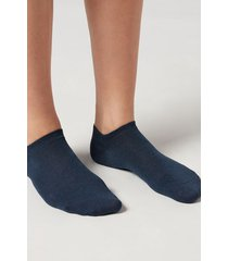calzedonia unisex cotton no-show socks man blue size 40-41