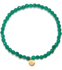 satya jewelry green onyx gold mini ganesha stretch bracelet