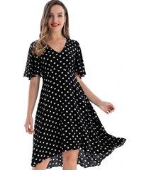 vestido lunares asimétrico negro nicopoly