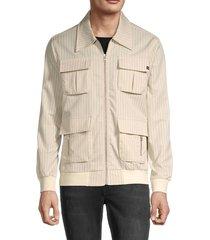 rnt23 men's pinstriped utility jacket - light blue - size xl