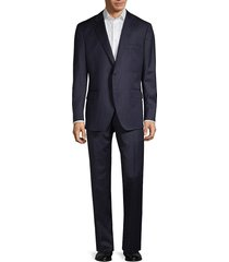 saks fifth avenue made in italy men's traveller modern-fit stripe wool suit - navy - size 42 l