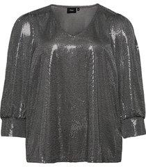 blouse glitter plus v neck 3/4 length sleeves blus långärmad silver zizzi