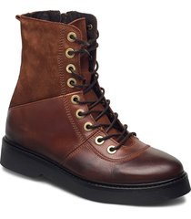 stb-billie high lace l shoes boots ankle boots ankle boot - flat brun shoe the bear