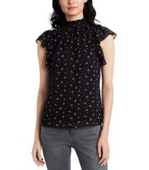 1.state rosette-printed mock-neck flutter-sleeve blouse