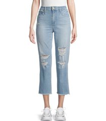 joe's jeans women's high-rise destroyed cropped jeans - blue - size 30 (8-10)