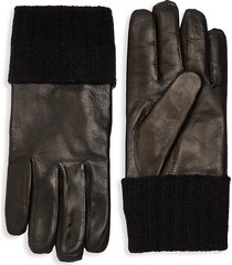 saks fifth avenue men's ribbed cuff leather gloves - black - size m