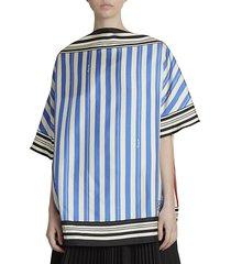 loewe women's stripe silk blouse - blue red