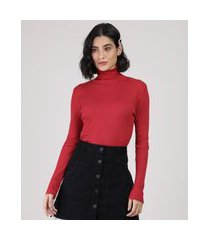 blusa feminina canelada manga longa gola alta vermelha