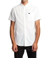 rvca that'll do solid short sleeve button-down shirt, size small in white at nordstrom