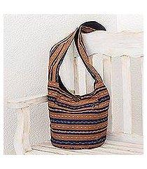 reversible cotton bucket bag, 'straight paths' (el salvador)