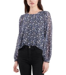 1.state floral-print smocked-shoulder top