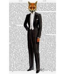 """fab funky fox in evening suit, full canvas art - 15.5"""" x 21"""""""