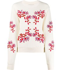henrik vibskov flower embroidered sweatshirt - neutrals