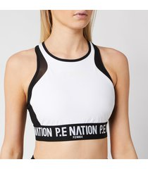 p.e nation women's centre forward sports bra - white - xs