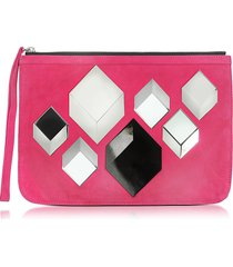 pierre hardy designer handbags, cube pink suede pouch