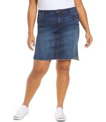 plus size women's kut from the kloth connie fray step hem denim skirt