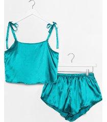 womens late night feelings satin pajama short set - emerald