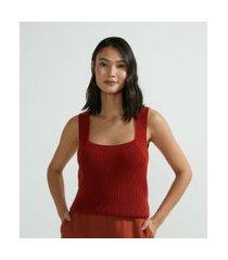 blusa regata em tricô com alça larga e pontos diferenciados | marfinno | vermelho | m