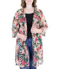 plus size sheer open front tropical kimono cardigan