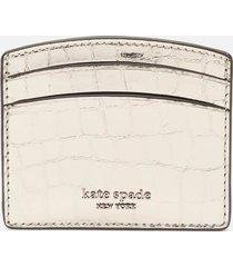 kate spade new york women's sylvia croc card holder - gunmetal
