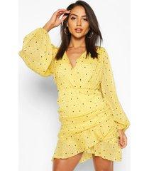 folk dobby sparkle mesh wrap ruffle mini dress, mustard