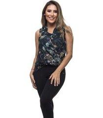 blusa clara arruda chifon estampado zíper lateral 20274 - feminino