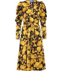 lanacras wrap dress knälång klänning gul cras