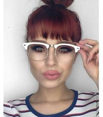 trendy clubmaster vintage retro clear lens geek eyeglasses for women