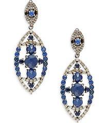 black rhodium-plated sterling silver, blue sapphire & diamond drop earrings
