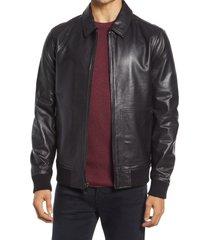men's nordstrom men's leather bomber jacket, size large - black