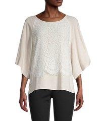 karen kane women's lace & linen-blend draped top - oatmeal - size l
